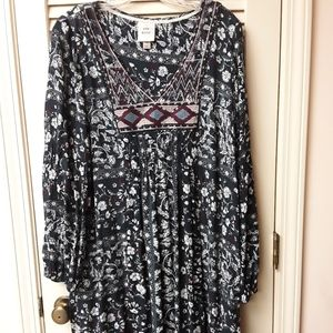 Boho Grey Blue Mirror Floral Peasent Dress Tribal